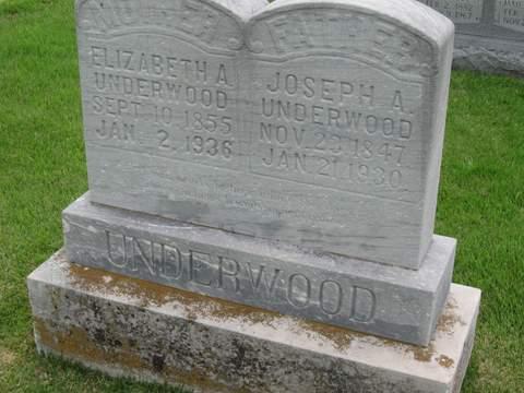 Elizabeth Adline Rickman and Joseph Abner Underwood- Headstone in Trace Creek Cemetery, Glenallen, Bollinger, Missouri.