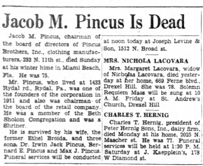11 Apr 1956 Obituary of Jacob M. Pincus, Philadelphia Inquirer, page 23, columns 1-2. Posted with kind permission of fultonhistory.com.