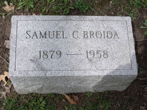 Samuel C. Broida headstone in West View cemetery, Pittsburgh, Pennsylvania, Section B, Lot 55. Image courtesy of a FAG volunteer and posted with permission.