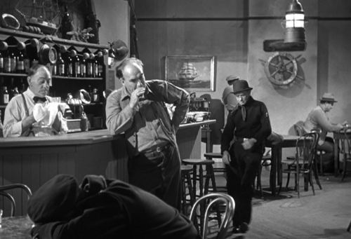 """Crime on Their Hands,"" 1948 Columbia Pictures Corporation short with Moe, Larry, and Shemp of the ""3 Stooges."" Bar scene."