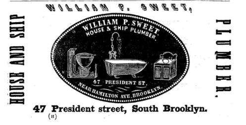1857 William P. Sweet House & Ship Plumber advertisement, appendix, in Smiths Brooklyn Directory for yr ending May 1 1857, via InternetArchive. (Click to enlarge.)