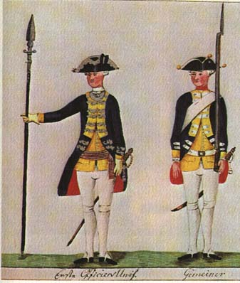 Uniforms of Hessian soldiers, likely jaegers, via Wikipedia; public domain.