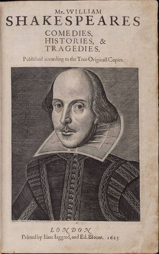 Title page of the First Folio, 1623. Copper engraving of Shakespeare by Martin Droeshout. Public domain, via Wikipedia.