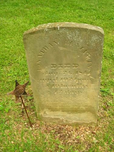 Headstone of Jonathan Benjamin (1738-1841) in Old Colony Burial Ground, Granville, Licking County, Ohio, with permission of photographer.