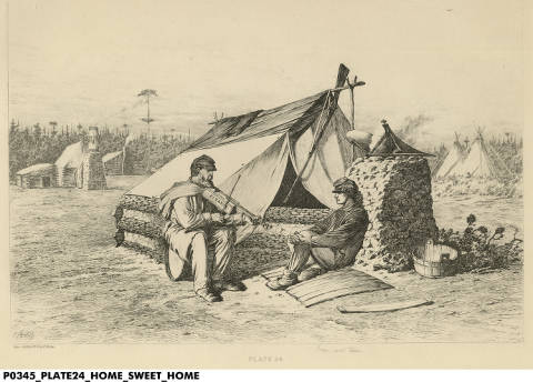 """Home Sweet Home"" by Edwin Forbes. Courtesy Indiana Historical Society. See notes for details."
