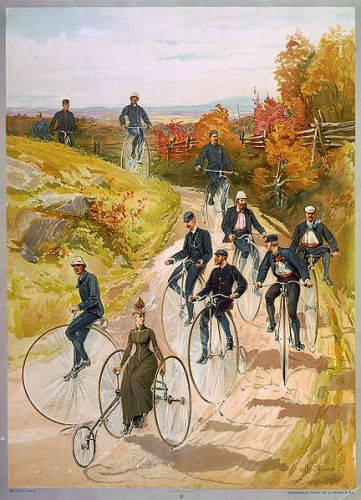 Bicycling ca1887- big wheels and a ladiy with a long skirt. Library of Congress via Wikipedia, public domain.