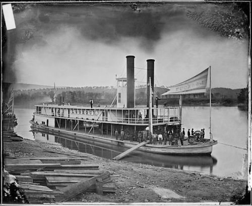 "The ""Lookout,"" a transport steamer similar to that used to carry Henry Clay Christie and his comrades upriver. This image is the Lookout on the Tennessee River, ca. 1860 - ca. 1865. Matthew Brady, NARA, restored, via Wikimedia; public domain."