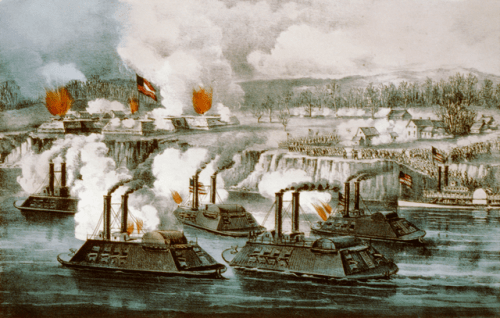 Battle of Fort Hindman/ Arkansas Port. Currier & Ives print from Library of Congress via Wikimedia, public domain.