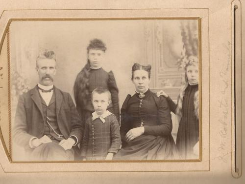 The John W. Roberts Family: from left, John W, Tressa, Clyde, wife Sarah Ansbach Roberts, and Candace Roberts. Taken about 1891, from the William Roberts Family Album.
