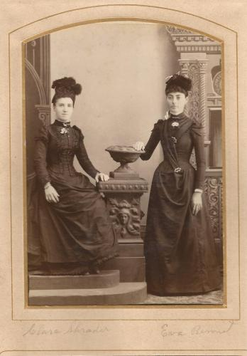 Clara Shrader and Eva Bennet, from the William Roberts Family Photo Album.