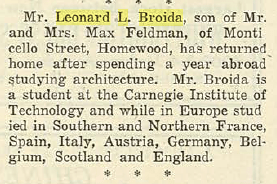 Leonard L. Broida- Returns from European Studies. In the Jewish Criterion, 9 May 1924, Vol. 63, No. 26, Page 26, courtesy of Pittsburgh Jewish Newspaper Project.