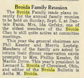 Broida Family Reunion- 1951. Leonard & Anita (Meyer) Broida, officers. The Jewish criterion, Vol. 118, No. 17, Page 12, via Pittsburgh Jewish Newspaper Project, with their kind permission.