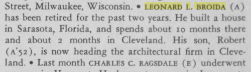 Leonard Broida's Carnegie Alumni News update for September, 1964, in the Alumni News, page 7.
