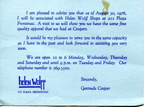Announcement from 1976 that Gertrude (Broida) Cooper had moved to the upscale store 'Helen Wolff' in Plaza Frontenac, St. Louis, Missouri.