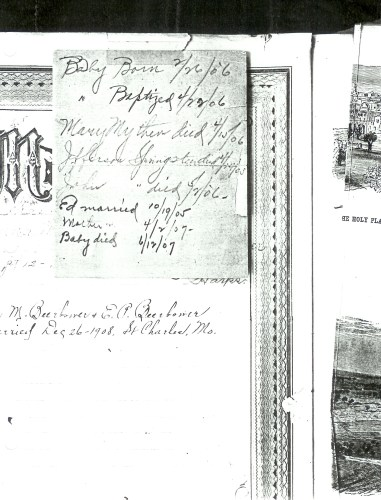 """Paper clipped to """"Memoranda,"""" page 6 of the Springsteen Family Bible record pages."""
