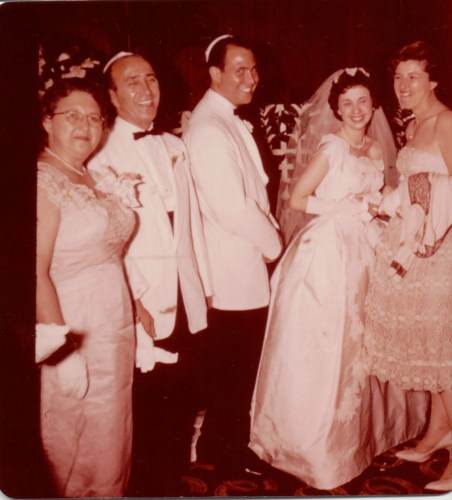 Harold Reuben Ribakow and bride, unknown bridesmaid. Possibly his parents on left, Loretta Cooper and Delmas Mayer Ribakow? Summer, 1959.