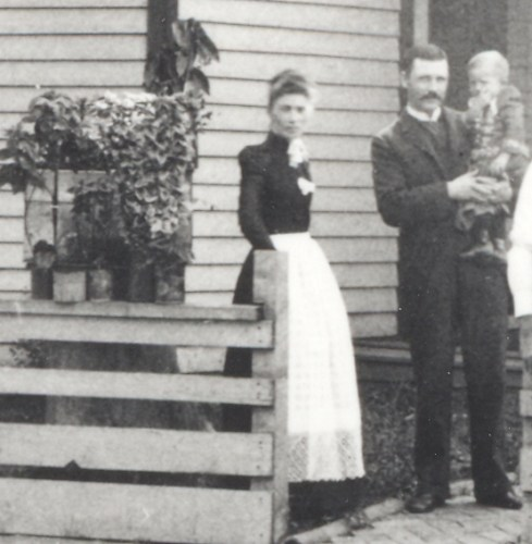 Mary Jane (Roberts) Blount and her husband Samuel H. Blount, holding baby Harry R. Blount.