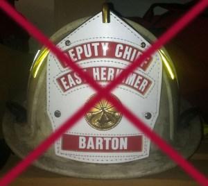 Former Herkimer Deputy Fire Chief Douglas Barton's Former Helmet