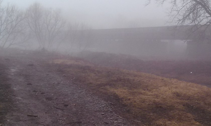 Fog shrouded Herkimer meth bridge 2016