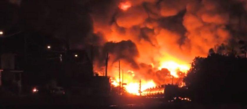 Surviving DOT-111 railway cars at Lac Megantic train explosion site