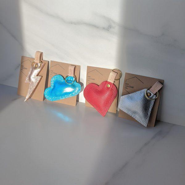 Scrap Upcycled Puffy Key Rings Heart Bolt DIamond Cloud