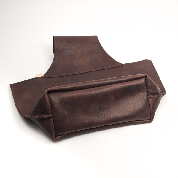 Upcycled Recycled Dark Brown Leather Handstitched Handmade