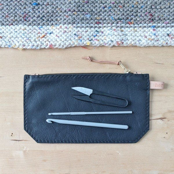 Black Zippered Pouch Flat