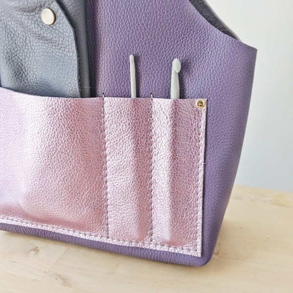 Beatrice Project Bag Pocket Stitches Detail Violet