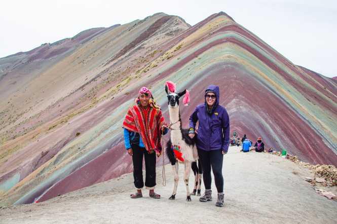Rainbow Mountain Peru Llamas