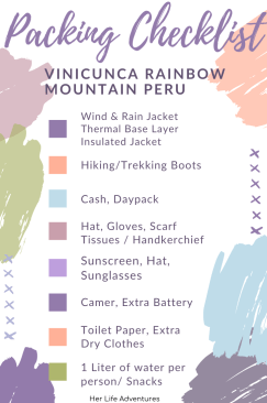 Checklist for what to bring on Rainbow Mountain Peru Trek