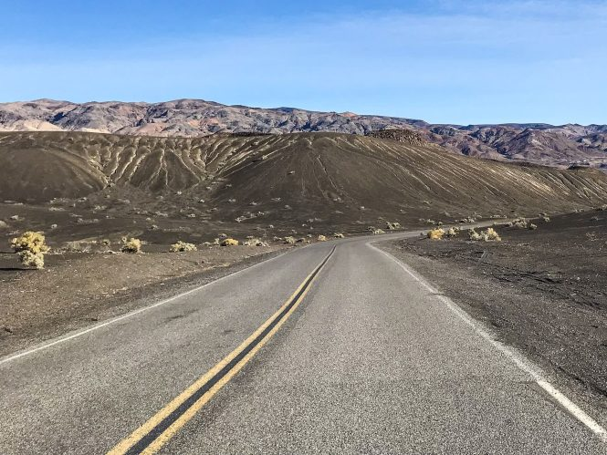 Road in Death Valley National Park leading to Ubehebe Crater
