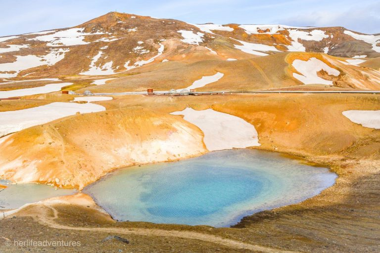 Krafla Vita crater is located in North Iceland by the famous power station. A hike takes you to the top of the massive crater.