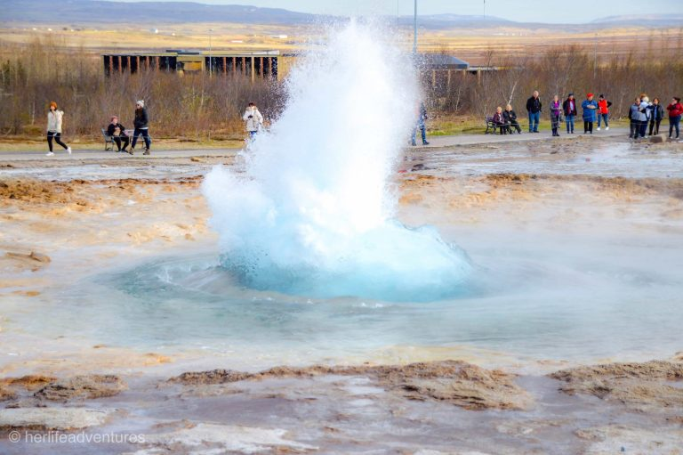 The famous geysir along Iceland's Golden Circle sets off every few minutes.