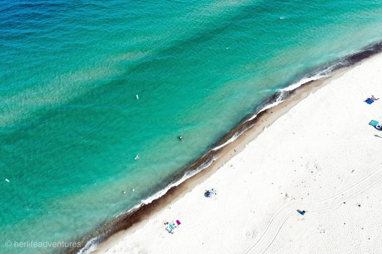Drone shot of Lake Michigan colors