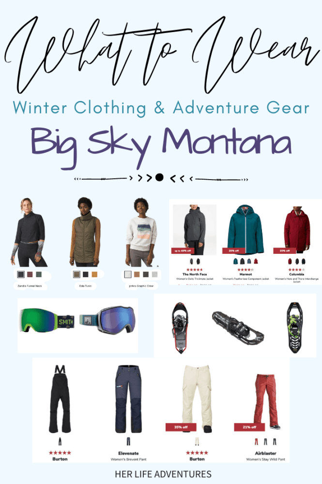 Things to do in Big Sky Montana: Hike to frozen waterfalls, snowshoe up a mountain, or take a sleigh ride. Big Sky Montana has something for everyone in this winter adventure guide! #bigsky #montana #thingstodo #northamerica #traveldestinations #travel #wintervacation