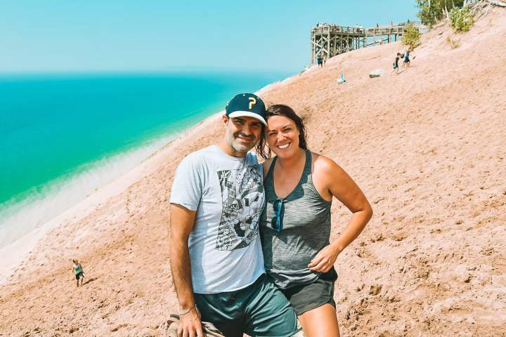 Lake Michigan Overlook Sleeping Bear Dunes | herlifeadventures.blog | #camping #usdestinations #sleepingbeardunes #nationallakeshore #travelhacks #travelguide #adventuretravel #roadtrip #nationalpark #nationalparkroadtrip #michigantravel #greatlakes #ustravel #summer #bucketlist