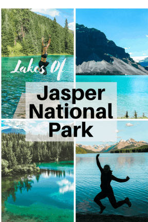 Jasper National Park lakes in Alberta Canada and more incredible photos to inspire your Canada National Park Adventure. Covering Jasper + Banff + Yoho | HerLifeAdventures.Blog | #traveldestinations #travelideas #northamericatravel #traveltips  #travelhacks #travelguide #adventuretravel #roadtrip #nationalpark #nationalparkroadtrip #alberta #canada #britishcolombia