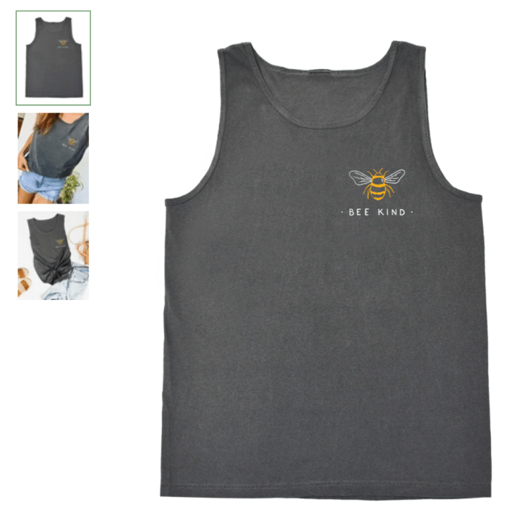 Bee Kind tank from Wholesome Culture. The best eco friendly company for women's travel clothing. They are committed to treating animals and the planet with kindness & compassion. #womensclothing #travelclothes