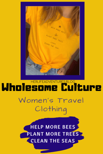 Wholesome Culture the best women's travel clothing is an eco friendly company committed to treating animals and the planet with kindness and compassion. Click here for a discount! | HerLifeAdventures.Blog | #travelclothesforwomen #wholesomeculture #travelclothes #travelclothing #discountcode #ethicalclothing #ethicaltravel #ethicaltravelproducts #ethicalfashionbrands #sustainablefashionlabels #sustainablebrand