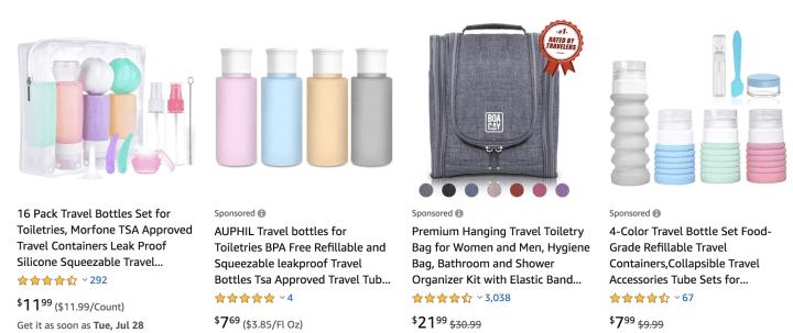 Unique eco friendly travel essentials: reusable toiletries bottles