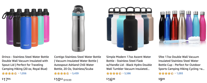 Unique eco friendly travel essentials: reusable water bottles; environmentally friendly