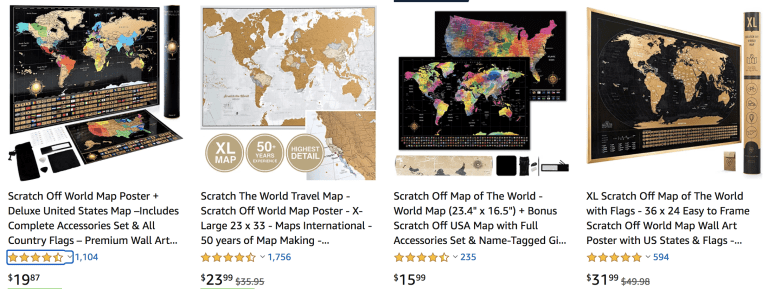 Scratch off Map sustainable travel gift
