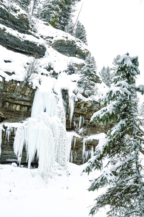 Frozen waterfall hiking in Custer Gallatin National Forest Montana