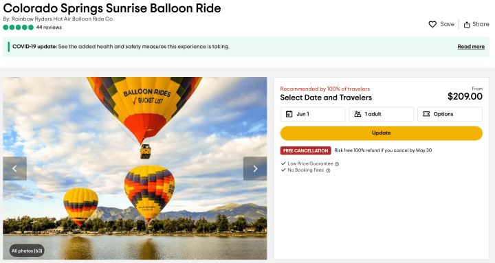 Hot air balloon ride in Colorado Springs
