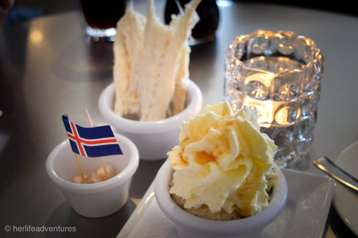 TRADITIONAL ICELANDIC FOOD fermented shark, dried fish and rye bread ice cream!