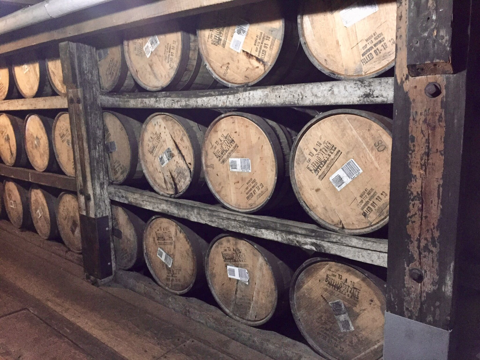 Barrels aging in Warehouse C | The OFC Distillery: a Taste of History at Buffalo Trace | www.herlifeinruins.com