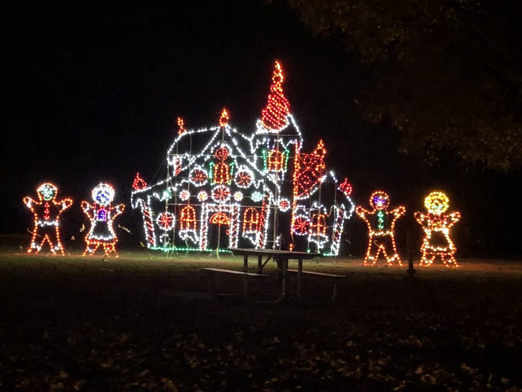 Her life in Ruins | A Gingerbread House light display at Southern Lights at the Kentucky Horse Park