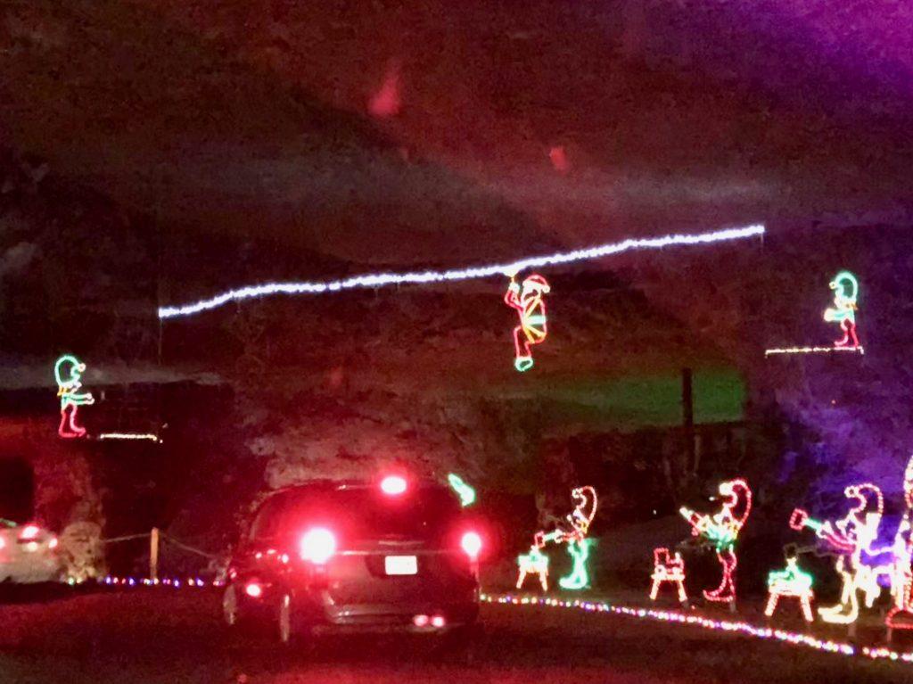Ziplining Santa at Lights Under Louisville | www.herlifeinruins.com