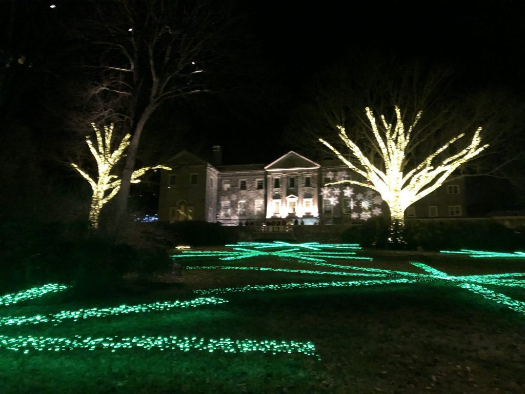 Cheekwood Mansion is lit up during Holiday Lights