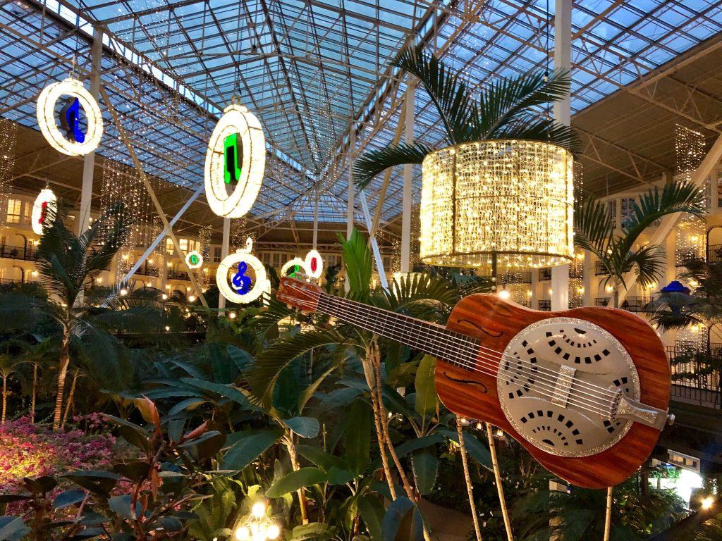 Music themed decorations in the Garden Conservatory at Gaylord Opryland Resort